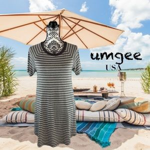Umgee loose fit slip on Gray white striped dress